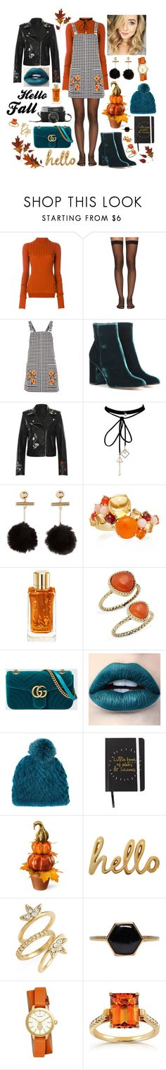 """""""Teal, Orange, Black, and White"""" by megan-maddalena ❤ liked on Polyvore featuring Theory, Wolford, Topshop, Gianvito Rossi, WearAll, WithChic, Daria de Koning, Lancôme, Saks Fifth Avenue and Gucci"""