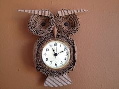 Cardboard Owl Wall Clock. $45.00, via Etsy.
