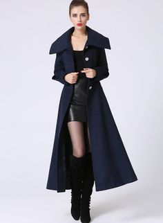 Grey Elegant Coat Lapel Collar Women Wool Winter Slim Coat Long