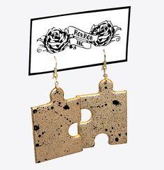 RokRokInc. handmade golden spray painted puzzle earrings. Upcycled DIY jewellery.