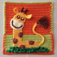 GIRAMONKION - this fanciful creature from Anneke is part giraffe, part monkey, part lion www.knit-a-square.com