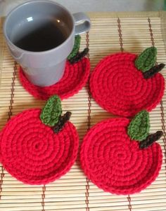 Red Apple Crochet Coasters Cherry Tomato Gift For by LanadeAna Crochet Fruit, Love Crochet, Knit Crochet, Knitting Patterns, Crochet Patterns, Crochet Coaster Pattern, Crochet Potholders, Crochet Home Decor, Crochet Kitchen