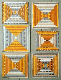 Mini Quilt of the Month - January: Courthouse Steps - The Purl Bee - Knitting Crochet Sewing Embroidery Crafts Patterns and Ideas! (for group of wall hangings). Purl Bee, Beginner Quilt Patterns, Quilting For Beginners, Quilt Tutorials, Block Patterns, Sewing Patterns, Crochet Patterns, Small Quilts, Mini Quilts