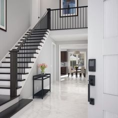 Modern Stair Railing, White Staircase, Modern Stairs, Home Stairs Design, Home Room Design, House Design, Staircase Remodel, Staircase Makeover, Staircase Ideas