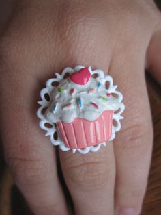 Pink Cupcake with Heart Cherry on White Adjustable Doily Ring - by Whimsy- $7.00