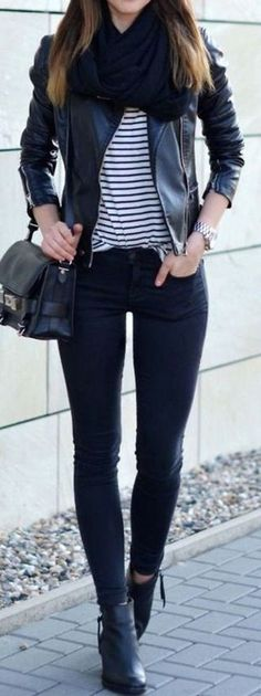HAVE: Suede Motto Jacket, Black Skinny's, Striped Tee. NEED: fluffy Black Scarf. REPLACE: Knit Black cowl or faux fur cowl