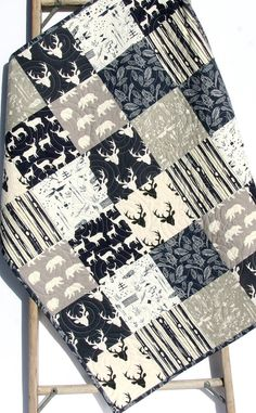 Baby Quilt Boy Deer Southwest Stag Woodland Birch Forest Bears Feathers Navy Blue Grey Modern Crib Bedding Toddler Bed Quilt Rustic Nursery by SunnysideDesigns2