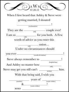 Get ideas from these 15 mad libs for your wedding! You can DIY your own wedding mad libs, or take a shortcut and hire somebody to make them for you. Wedding Mad Libs, Wedding Guest Book, Wedding Reception, Our Wedding, Dream Wedding, Wedding Ideas, Wedding Venues, Wedding Advice, Wedding Photos