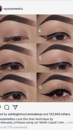 Eyeliner tutorial make-up tricks in 2019 макияж Eyeliner Hacks, Eyeliner Tape, Eyebrow Makeup Tips, Makeup Eye Looks, Eye Makeup Steps, Cat Eye Makeup, Beauty Makeup Tips, Skin Makeup, Perfect Winged Eyeliner