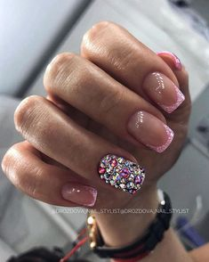 There must be your favorite nail ideas in 140 classic nail designs. - Page 92 of 139 - Inspiration Diary Short Square Nails, Short Nails, French Nails, Cute Acrylic Nails, Gel Nails, Love Nails, Pretty Nails, Classic Nails, Sparkle Nails