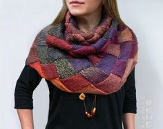 Hand-knitted entrelac multicolor shaded cowl/ neck warmer/