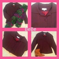 BEBE NWOT SEXY BERRY BLAZER This is such an awesome blazer, jacket and is in NWOTcondition! The color is a deep mulberry. The weight is light - medium perfect for spring!  All of my items come from extremely clean non-smoking non-pet home and laundered only in eco-friendly detergent. bebe Jackets & Coats Blazers
