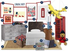 mood board, london, kids room, telephone booth, union jack, the beatles, queen's guard, double decker bus.
