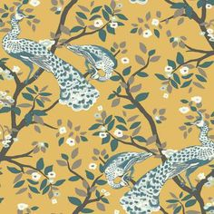 York Wallcoverings Dwell Studio Plume Wallpaper - Yellows - The Savvy Decorator Peacock Wallpaper, Chinoiserie Wallpaper, Botanical Wallpaper, Wallpaper Roll, Bathroom Wallpaper Yellow, Toile Wallpaper, Wallpaper Ideas, Brande, Whales