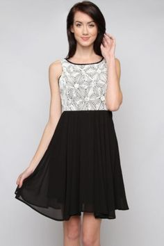 salediem sells Boutique Fashions for Less. Shipping is always FREE!. SLEEVELESS DRESS WITH LACE CONTRAST AND OPEN BACK