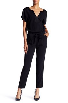 V-Neck Short Sleeve Front Tie Jumpsuit by Trina Turk on @HauteLook
