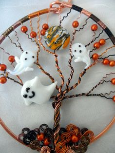 Wire Wrapped Tree with Ghost Ornament by WrappedUpInMagic on Etsy, $40.00