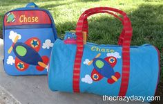 Kids Luggage with personality! They will love to carry clothes or even toys in this Stephen Joseph Airplane Duffle Bag. Personalize it to make it one of a kind! thecrazydazy.com
