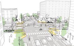 A Associação Nacional de Funcionários de Transporte de Cidades, conhecida por suasiglaNACTO, elaborouseis princípios para desenhar cruzamentos