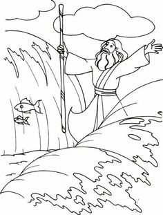 Moses, : Moses Divide the Red Sea with His Stick Coloring Page