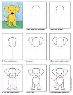 Hvordan tegne en hund drawing lessons for kids, art videos for kids, dog drawing Art Drawings For Kids, Drawing For Kids, Easy Drawings, Animal Drawings, Art For Kids, Drawing Art, Kids Fun, Kids Drawing Lessons, Puppy Drawing
