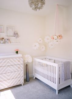 Adorable blush nursery: http://www.stylemepretty.com/living/2016/12/02/a-blushing-baby-nursery-as-pretty-as-they-come/ Photography: Audra Wrisley - http://audrawrisley.com/