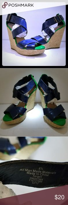 Xhilaration Blue and Green Wedge Heels Womans 8.5 Worn twice like new. Xhilaration Shoes Heels