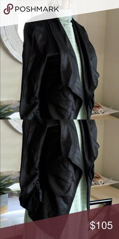 Vegan Leather Jacket  Black - Size Small This  buttonless drape jacket is super soft! It has beautifully gathered sleeves and a flattering high/low hem. The faux (or vegan) leather has a gorgeous pebble pattern that lends a touch of shine to this gorgeous jacket.  It is a Small, but fits more like a 8-10.  *Mint Condition * Non-Smoker/Non-Smoking Home * Karen Kane Jackets & Coats