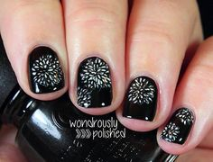 fireworks black new year's eve nails
