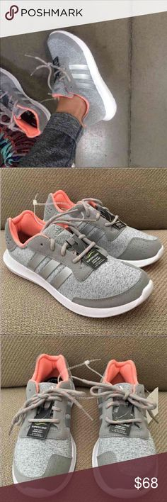 NEW ADIDAS WOMEN RUNNING SHOES AUTHENTIC 8.5 Authentic Adidas Women Sport Athletic Shoes  Classic Adidas Stripe SNEAKER with elegant chic element VERY COMFORTABLE for running, walking, gym shoes, yoga or just everyday shoes that super chic grey coral and cute! Size 8.5 **message me if u need different size ***  Features:  Lace up closure for secure fit Lightweight Breathable knit upper SUPERCLOUD™ midsole and rubber outsole Adidas® three stripe branding  Content:  Knit upper Rubber outsole…