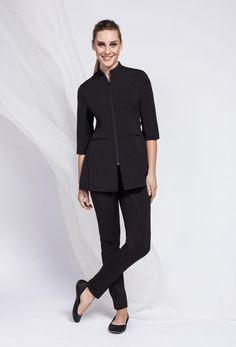 Noel Asmar Uniforms Coupons Up to off Spa Uniforms, Suiting, Fitness and more. Spa Uniform, Hotel Uniform, Beauty Salon Uniform Ideas, Uniform Design, Professional Attire, Womens Fashion For Work, Mandarin Collar, Blouse Styles, Normcore