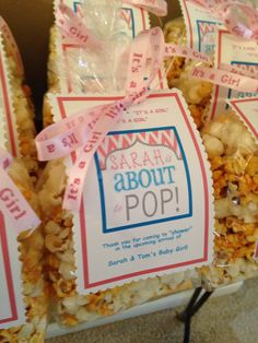"""Sarah is about to """"POP"""" - baby shower gift for guests. Ideas for boy or girl Pop Baby Showers, Baby Shower Brunch, Baby Shower Fun, Baby Shower Gender Reveal, Baby Shower Favors, Baby Shower Cakes, Baby Shower Decorations, Baby Shower Gifts For Guests, Bachlorette Party"""