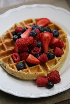 Grape-Nuts Whole Wheat Berry Waffle Recipe! So easy to make and tastes delicious. Plus it is whole wheat and has fresh fruit in it!