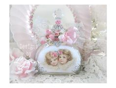 Beautiful Bejeweled Bottle 77 Sweet Angels & Roses Hand Decorated Bottle Originals By Lynn-pink, roses, shabby, chic, ruffles, Victorian, Vintage, Lynn, Barkcloth, PINK, cottage, white, Brundage,bottle