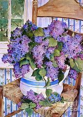 Sherri Crabtree Art - Country Lilacs by Sherri Crabtree