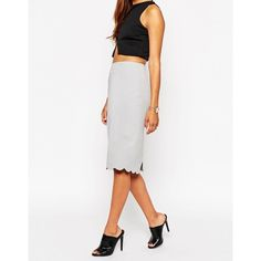 ASOS Pencil Skirt with Scallop Hem ($33) ❤ liked on Polyvore featuring skirts, reversible skirt, white pencil skirt, tall skirts, white skirt and knee length pencil skirt