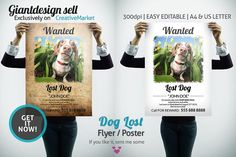 Dog Lost Flyer | Poster by GiantDesign Shop on @creativemarket