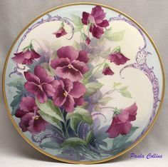 china painting , porcelain painting catalog for Paula Collins China Painting, Tole Painting, Ceramic Painting, Hand Painted Plates, Plates On Wall, Decorative Plates, Decoupage, Illustration Blume, Teller