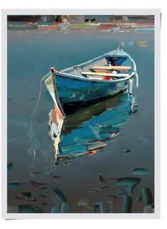 Josef Kote The Merritt Gallery Landscape Art, Landscape Paintings, Water Reflections, Reflection In Water, Sailboat Painting, Boat Art, Nautical Art, Pictures To Paint, Art Plastique