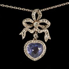Edwardian gold on platinum colour change natural sapphire and diamond heart…