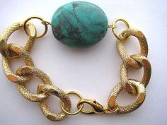 Celebrity Inspired Textured Gold Chunky Curb Chain..Natural Turquoise...Stack 'em Up   by CelebrityTrendz, $18.00