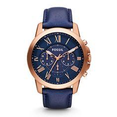 Herrenuhr Grant Chronograph Leder - Blau FS4835 |FOSSIL®