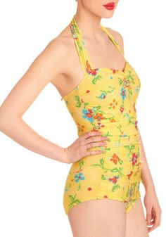 Bathing Beauty One Piece in Needlepoint, #ModCloth