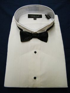 "Tuxedo Dress Shirt w/ Bow Tie 60\% Cotton 40\% Polyester 1/8"" Pintuck (Pleat) Wing Tip Collar"