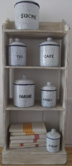 antique French ENAMELWARE  KITCHEN CANISTERS by vintagefrenchstyle, $185.00