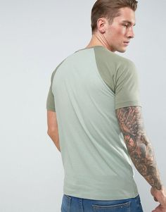ASOS T-Shirt With Contrast Raglan In Green - Green