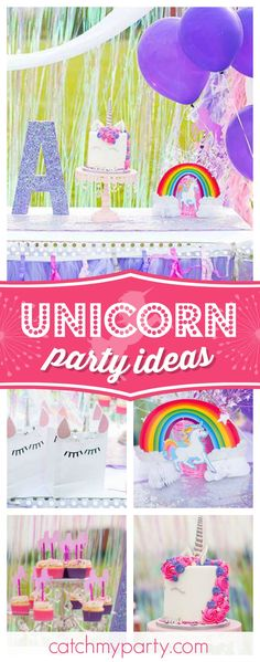 Don't miss this magical unicorn birthday party. The birthday cake is so cute!! See more party ideas and share yours at CatchMyParty.com  #unicorn #birthdayparty