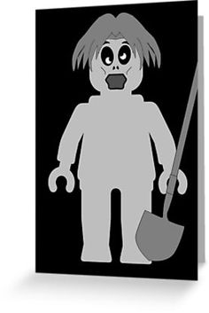 """""""Zombie Minifig by Customize My Minifig"""" Greeting Cards & Postcards by ChilleeW 