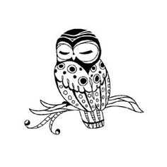 black and white owl to paint for the girls