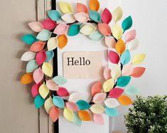 Handmade Felt Wreaths Felt Flowers & Felt by CuriousBloom on Etsy Felt Flower Bouquet, Felt Flower Wreaths, Felt Wreath, Easter Wreaths, Felt Flowers, Paper Flowers, Flower Bouquets, Ribbon Wreaths, Yarn Wreaths